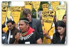 Emergildo Criollo of the Cofan affected people in Northern Ecuador reports back after speaking to the Chevron Board and Shareholders  -> Click to enlarge