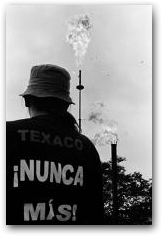 Ermel Chavez, President of the Frente de Defensa de la Amazonia (Amazon Defense Front), facing the flares of the old Texaco oil facility in Sacha during a court-ordered inspection  -> Click to enlarge